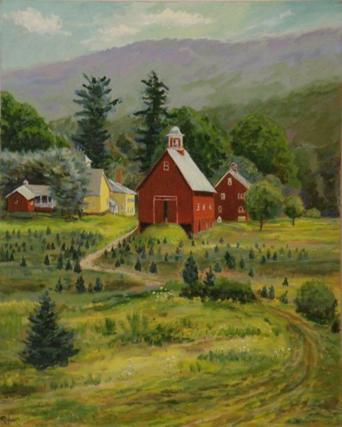 [Christmas tree farm, on Connecticut River Road, Springfield, oil on panel]