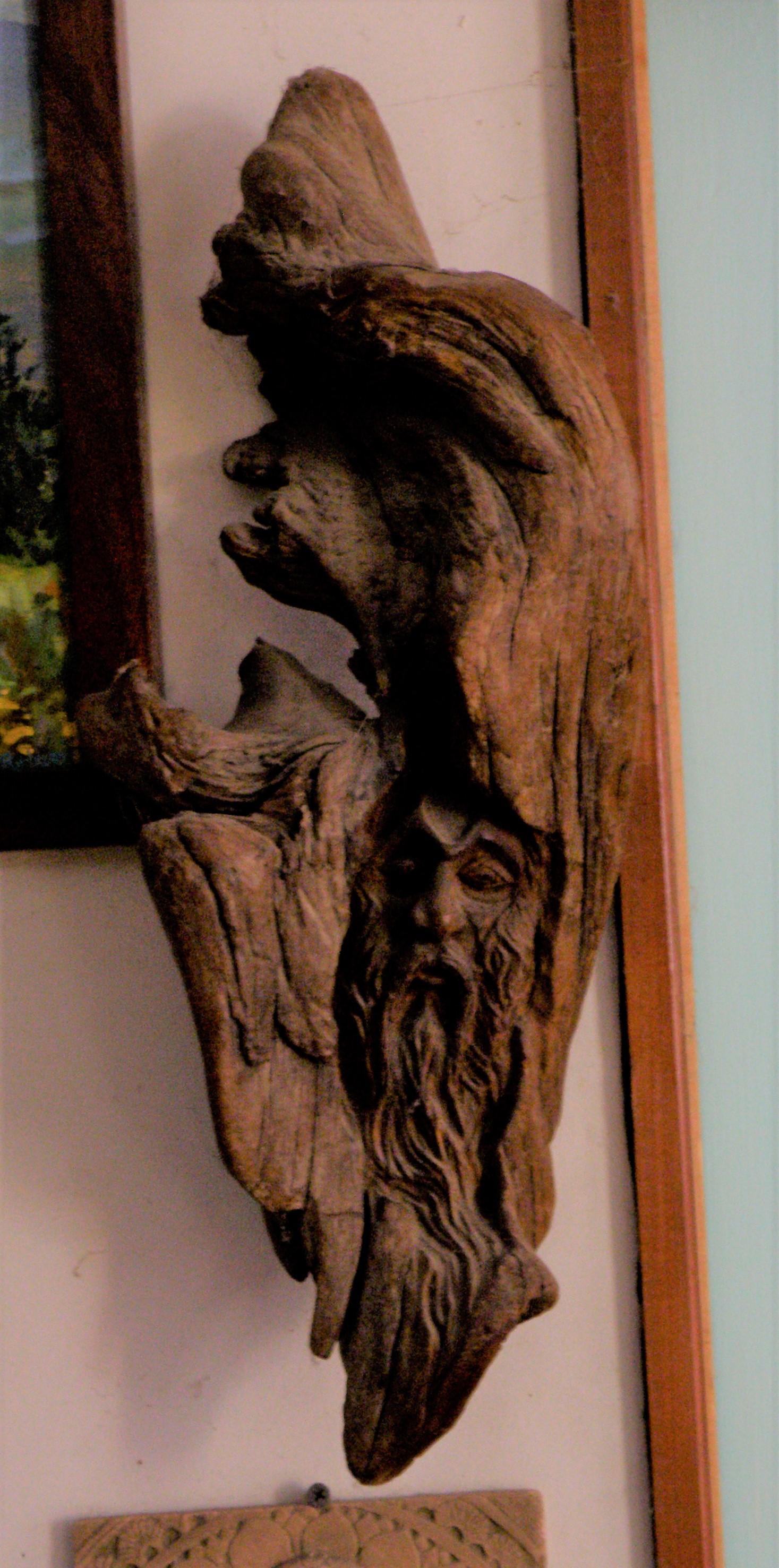 [Wood Spirit, carved driftwood]