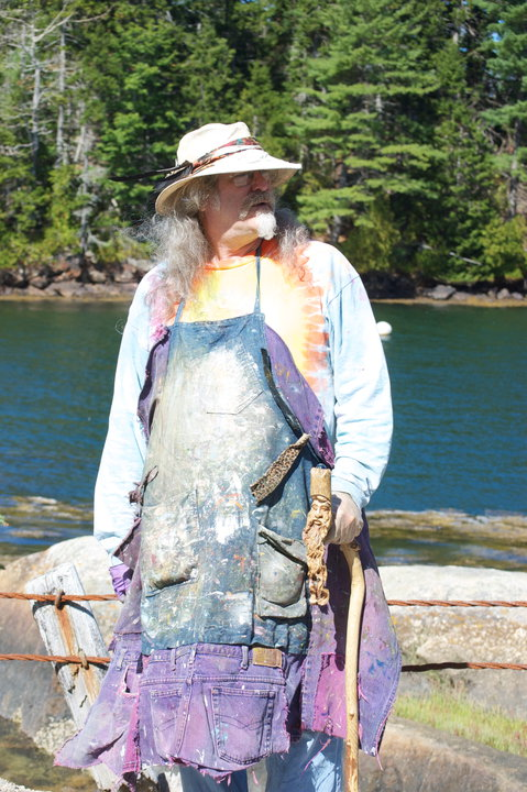 [Rick up in Maine painting on Cape Rosier, at Reversing Falls.]