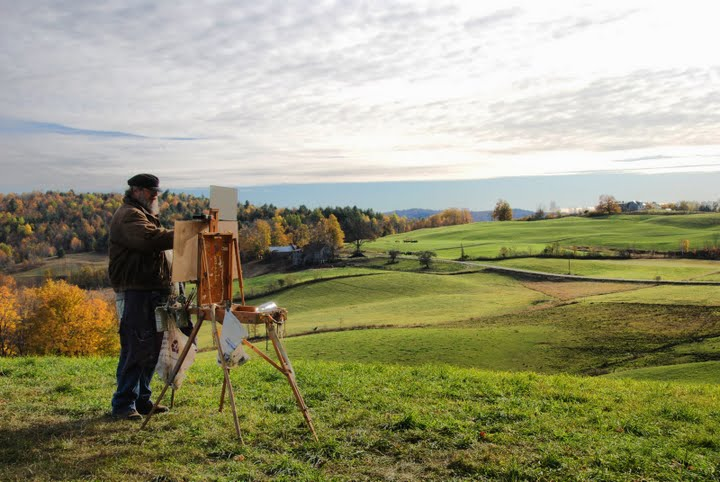 [Rick painting at Jenne Farm in Reading, Vt]