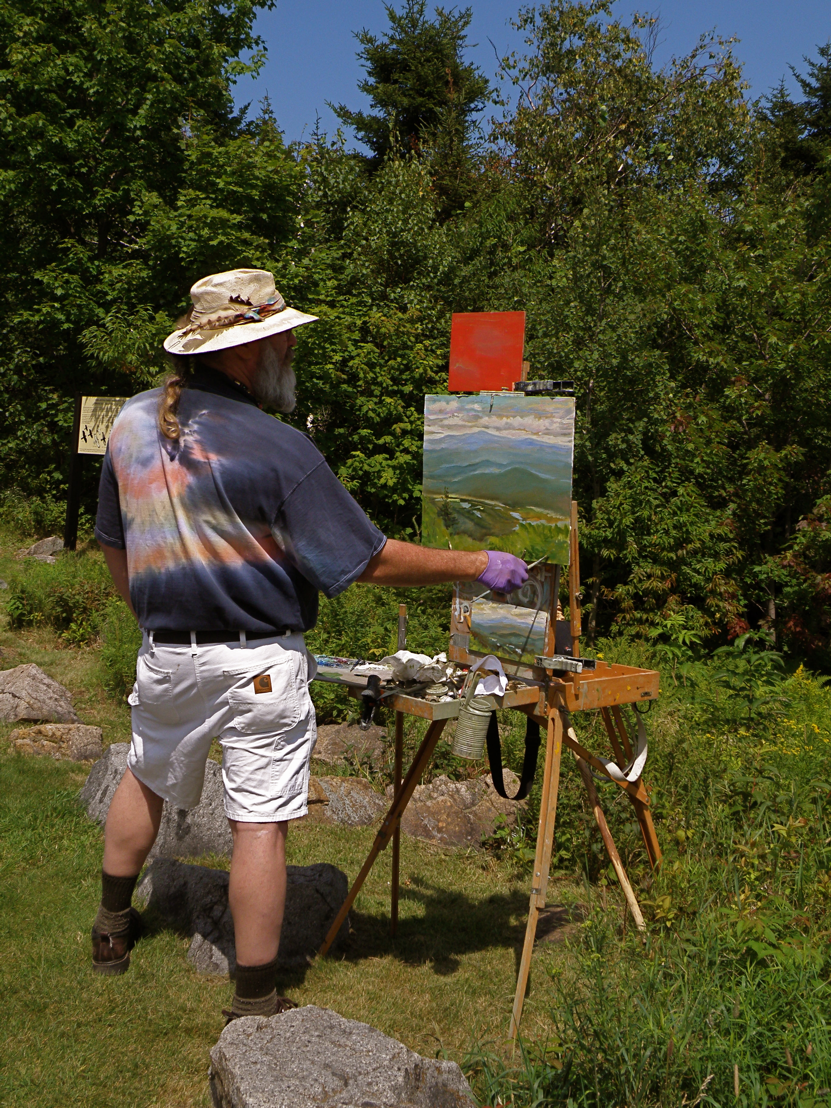 [Rick painting on Mt. Ascutney]