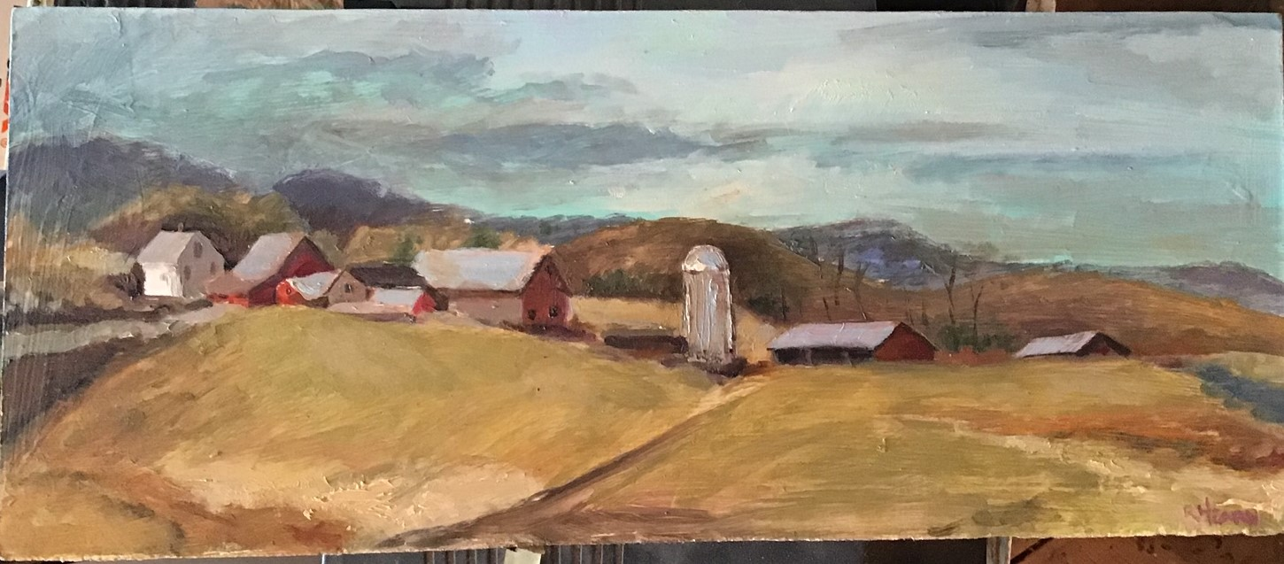 Fisher Farm, Pleasant Valley Road, Rockingham, Vermont; oil on panel