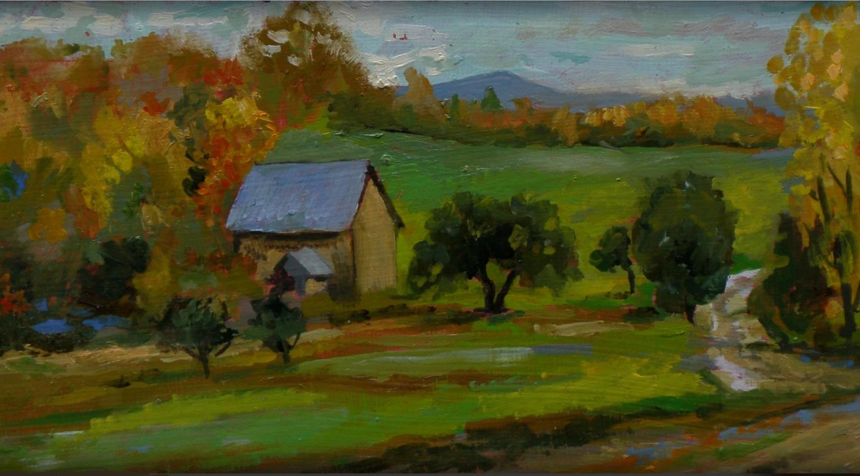 Andover Vermont; oil study on panel