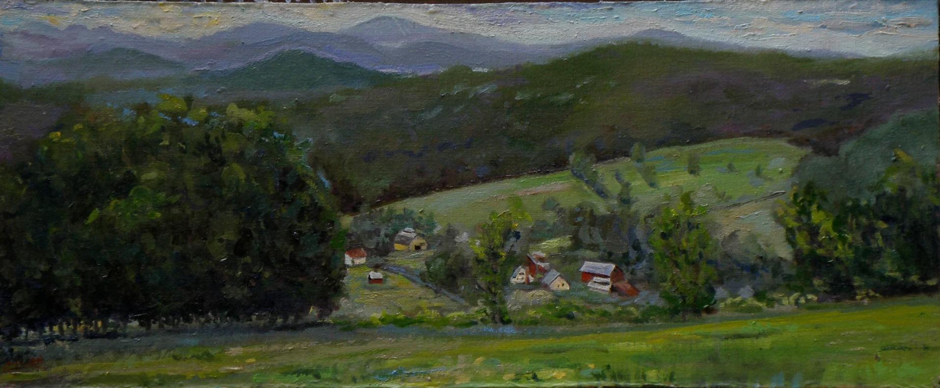 Above Bishops Farm, Springfield, Vermont;  oil on panel, study