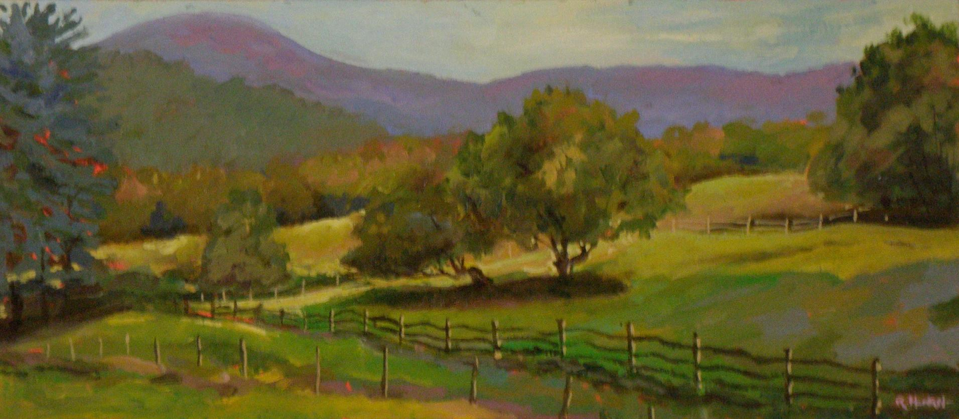 Pasture, Lower Parker Hill Road, Springfield, Vermont; oil on panel
