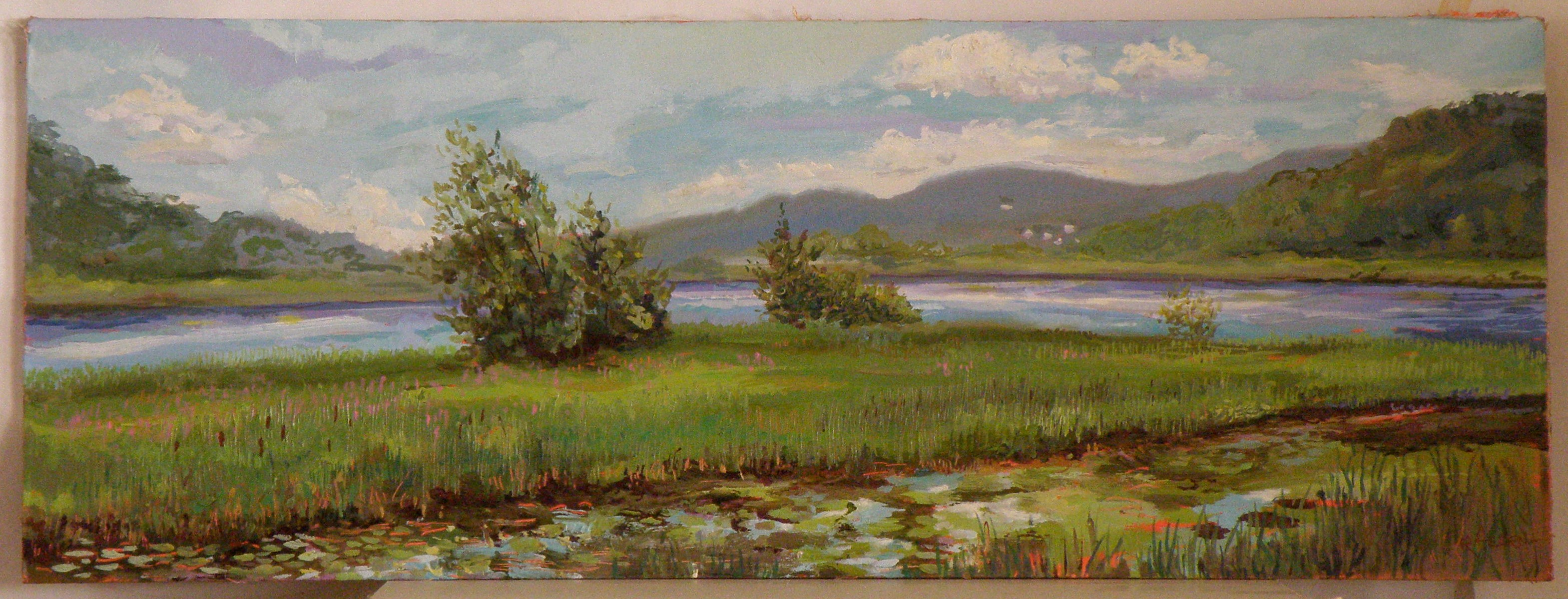 Looking south from Herrick's Cove, Rockingham, Vermont; oil on panel