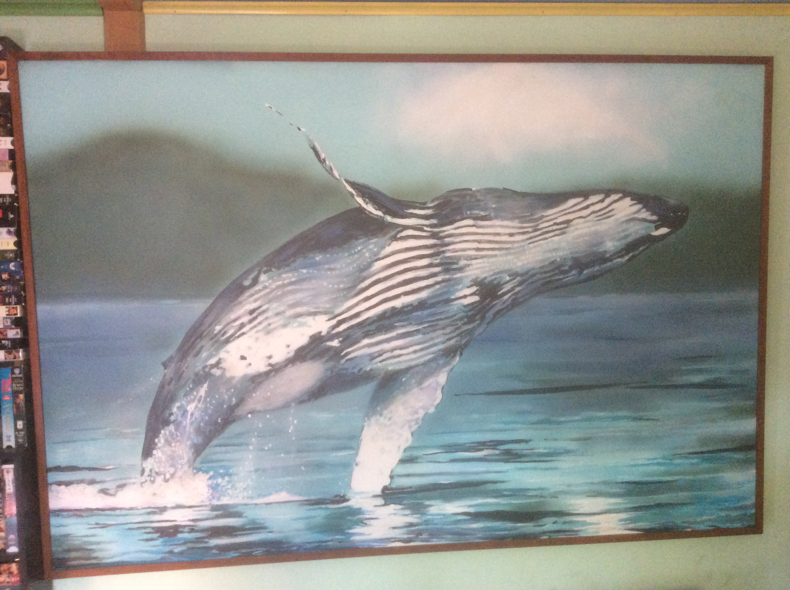 [Humpback Breaching, acrylic on stretched canvas]